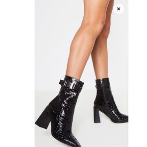 Pretty Little Thing - Black Square Toe Boot